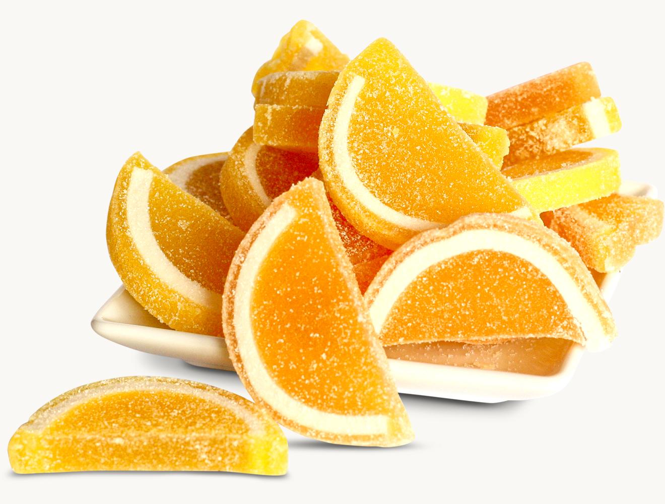 Gelee Orangen- und Zitronenscheiben
