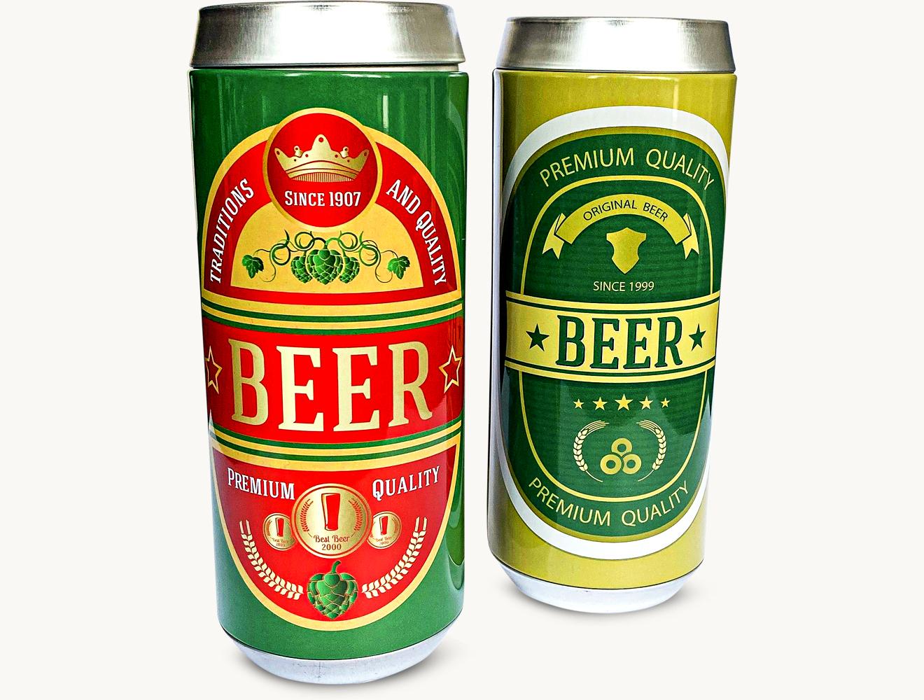 Bier Spardose mit rot kandierten Erdnüssen