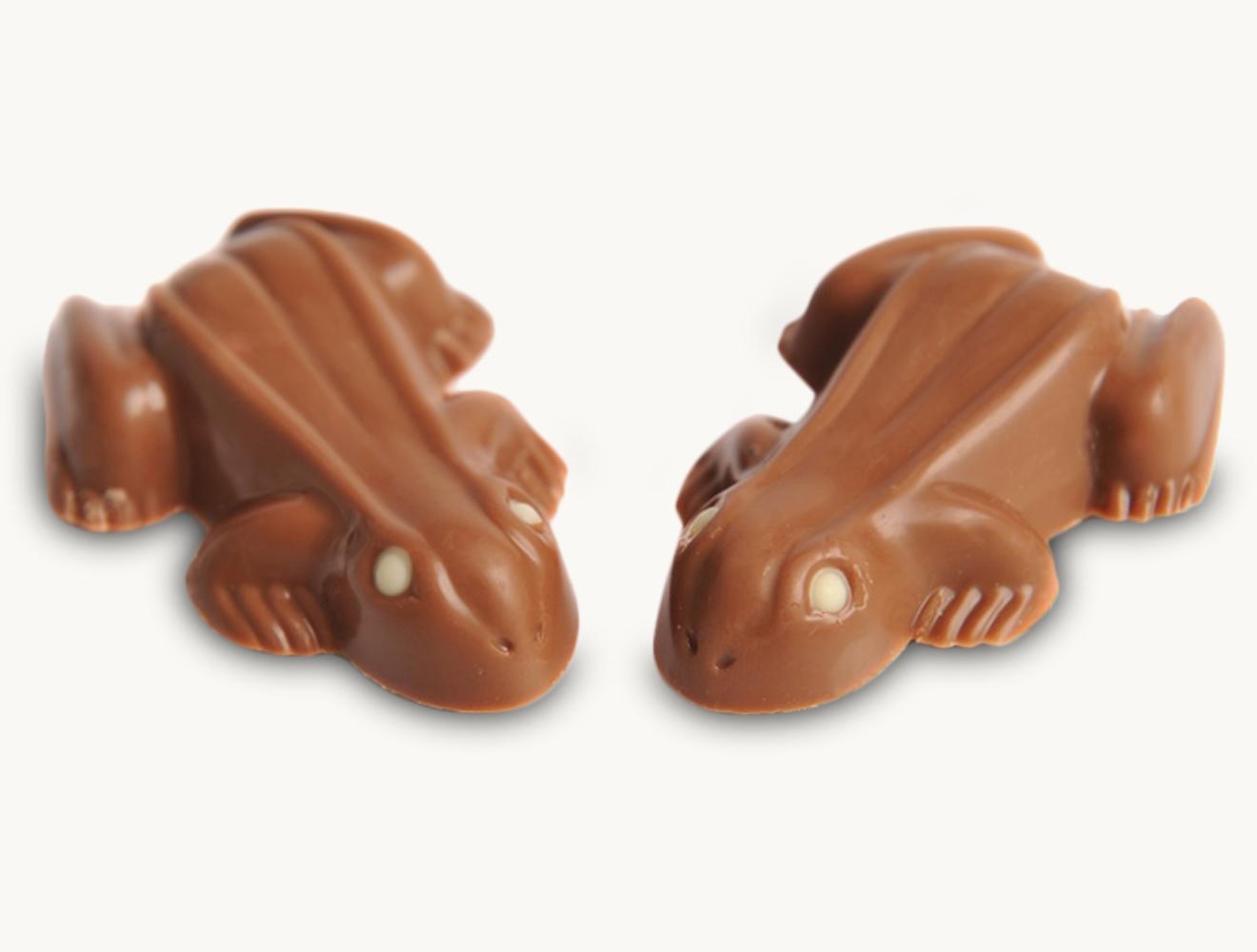 Frösche aus Vollmilschokolade